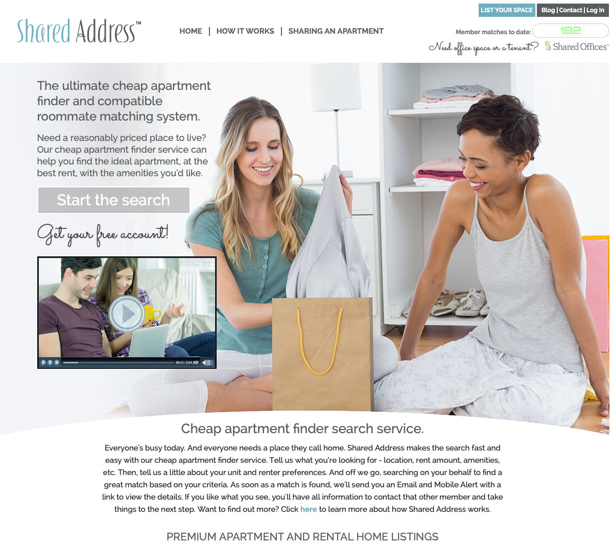 Shared Address Apartment Sharing Website